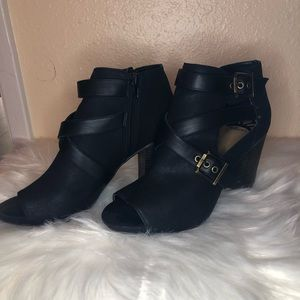 Black open toed booties